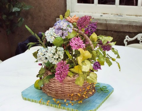 Hydrangeas and lilacs basket