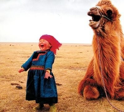 Laughing child and camel
